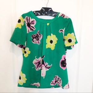J. Crew Green Floral Top Size XS